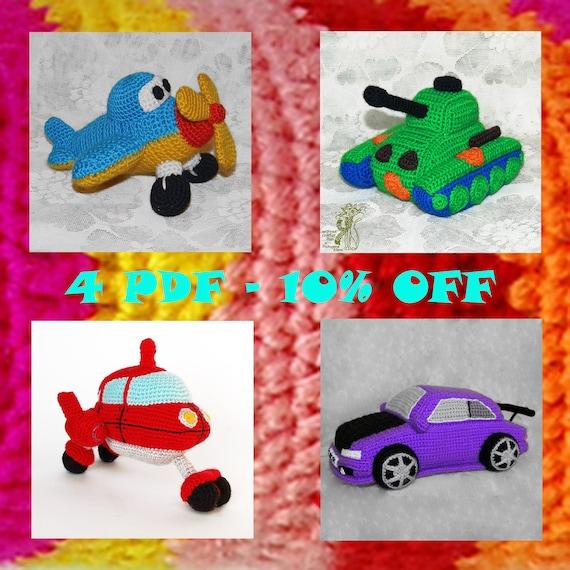 Crochet Toys For Boys : Crochet patterns toys for boys plane tank rocket car diy