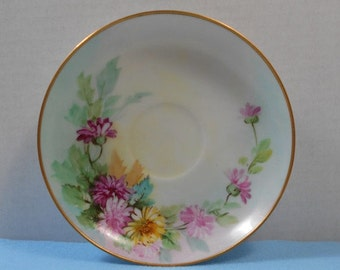 SALE Hand Painted Pastel Mint Seafoam Green Pink Flowers Floral Saucer