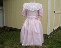 Vintage Nicole Girls Dress White & Pink Striped Organza Size 14, White Lace Bib Collar, 3/4 Length Sleeve, Scalloped Edge Skirt, Rosette