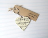 The Mikado keyring. Unique music keychain made with a vintage copy of Gilbert & Sullivan song book. Gift idea for music lovers, Valentine