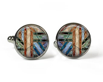 ABSTRACT - Glass Picture Cufflinks - Silver Plated (Art Print Photo AE25)