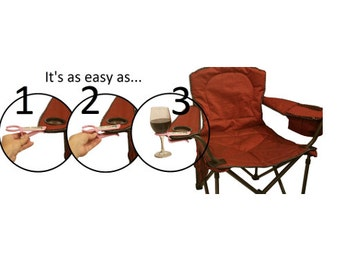 Wine glass holder for an outdoor chair. Works on most Patio, Beach, Camp/Bag chairs! Great Mother's Day gift!