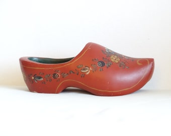 SALE Ornamental Wooden Shoe, Hand Decorated Wooden Shoe