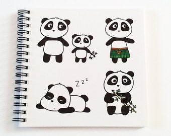 Notebook Panda Gift -Journal - Mother's Day gift - square size - both ruled and plain paper for sketching- wire bound