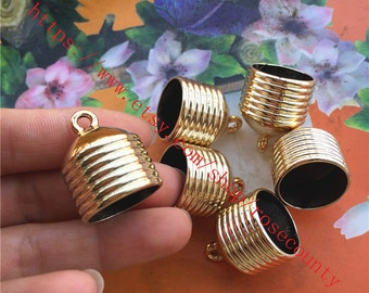 Large-Wholesale 100pcs 26x20mm CCB KC Gold Tassel Caps/end cap terminators findings--hole 18mm