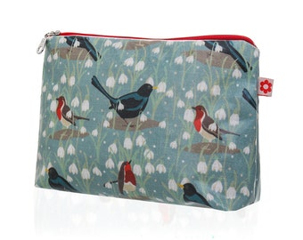 New! Snowdrop Oilcloth Washbag by Susie Faulks/ Bag/ Oilcloth Bags/ Made in England/ Make Up Purse