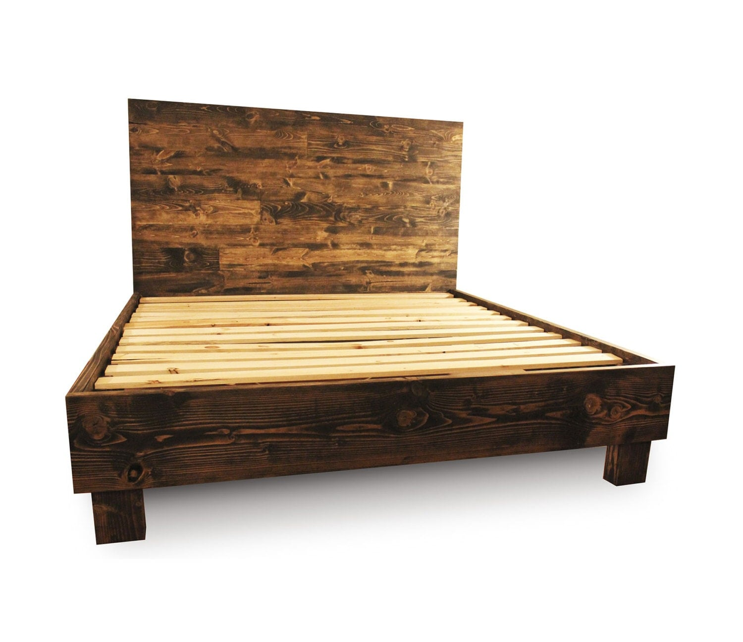 Rustic wood platform bed frame and headboard by pereidarice Adirondack bed frame