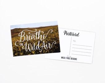 4x6 Postcard Breathe Wild Air Vintage Print Hand Lettering Landscape Travel Field Postcard set
