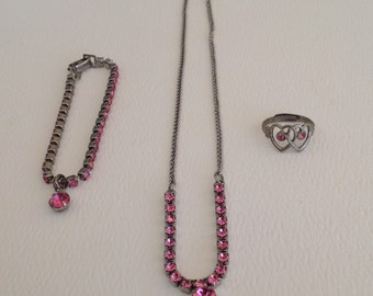 Vintage Pink Rhinestone Child's Jewelry Set