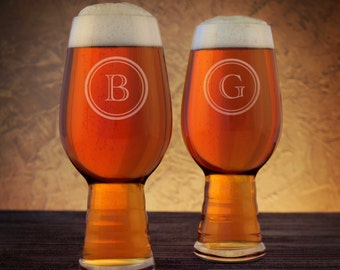 Personalized IPA Beer Glasses with Monogram Design Options & Font Selection and Optional Monogrammed Bottle Opener Gift Set (Each)