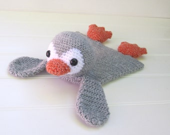CUSTOM Crochet Gray Penguin Ragdoll Lovey Security Blanket