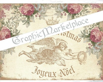 Shabby Chic Christmas Noel Angel Download Transfer Fabric digital collage sheet graphic printable image No. 400