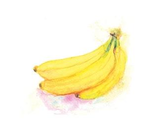 Bananas Watercolor Print, Watercolor Fruit Wall Art Print, Kitchen Wall Decor, Fruit Watercolor Painting, Bananas Decor