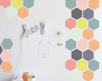 Wall Decal - Bright Honey Comb - Wall Sticker - Room Decor