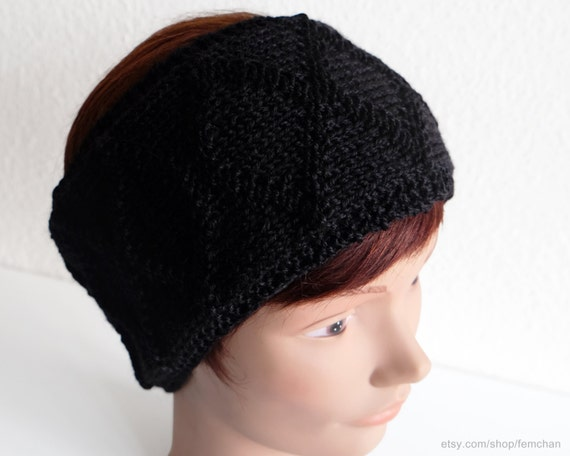 Knitted Headband Patterns Wide : Diamond pattern headband cable knit headband wide hairband