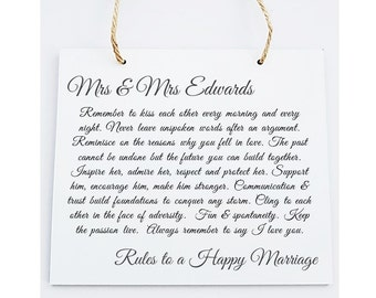 Personalised Square Wooden Plaque. Vintage Design Wedding Poem Gift.  Rules to a Happy Marriage.