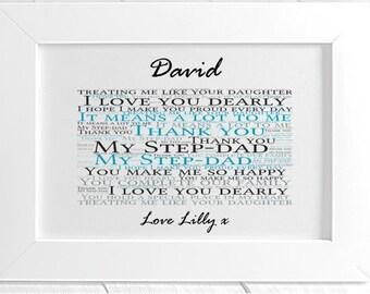 Personalised Stepdad Framed Word Art