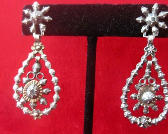 Pair of Georgian Rose Diamond Earrings