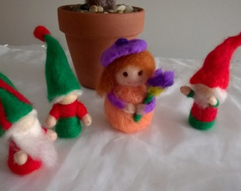 Wooden, Needle Felted Christmas Gnomes