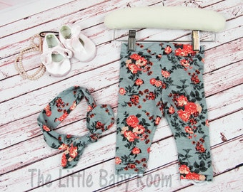 Girls Coming Home Set,Leggings and headband,Girls Leggings,Baby Leggings,Knot Headband,Girls Gift Set,Leggings lace,Rose,Floral,Pants,Infant