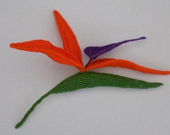 Crochet Strelitzia (Bird of Paradise) Pattern/crochet exotic flowers/Original crochet flower pattern/3D crochet flower/realistic flowers
