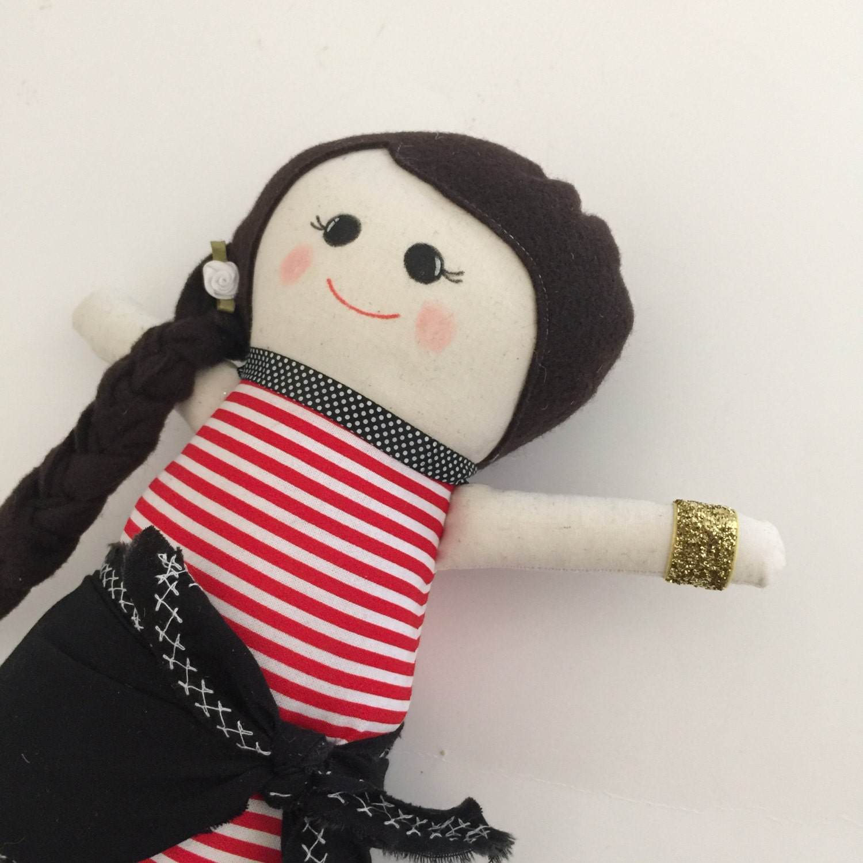 "Pirate Girl Fabric Rag Doll 14"""
