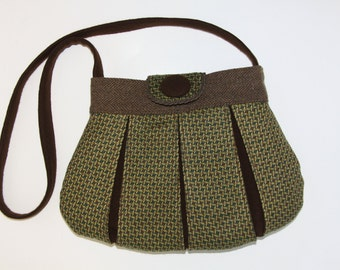 purse,handbag,shoulder bag,crossbody,green,brown,hand made,recycle,pleated