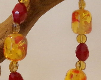 Pretty Red Orange Glass Beaded Bracelet
