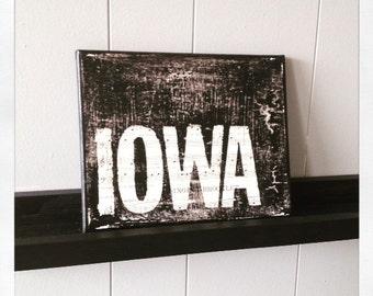"Canvas Art Quote ""Iowa"" 8 X 10"