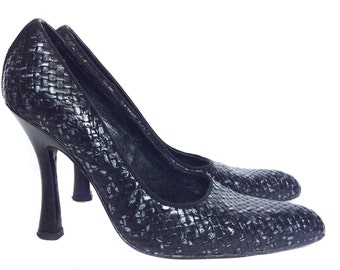 Vintage Stephane Kelian Black Leather Woven Shoes Size 7.5
