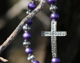 Purple Preemie Cross Braclete