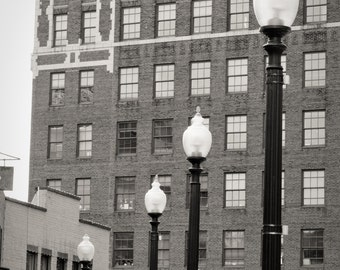 Downtown Asheville North Carolina Architecture Black and White Fine Art Print - Lamppost Historic Building