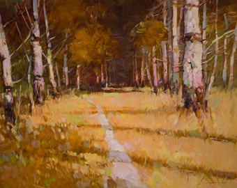 Ocher Autumn South West art Landscape oil Painting One of a kind Handmade Artwork Impressionism Signed with Certificate of Authenticity