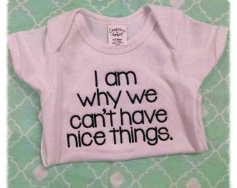 I Am Why We Can't Have Nice Things Onesie