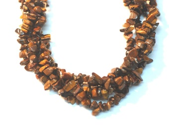 "2 Strands Tiger Eye Chips 36"" Long"