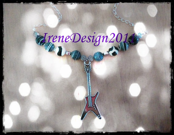 Handmade Silver Necklace with Striped Gemstones & Guitar by IreneDesign2011
