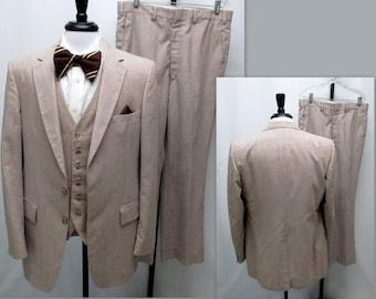 Vintage 80s Three Piece Suit, 80s Mens Suit, 80s Taupe 42L Three Piece Suit