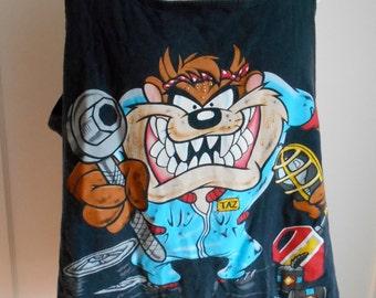 Vintage 90s Taz Garage Black Muscle Tank Top T Shirt XL Warner Bros Taz's Garage Looney Tunes Old School