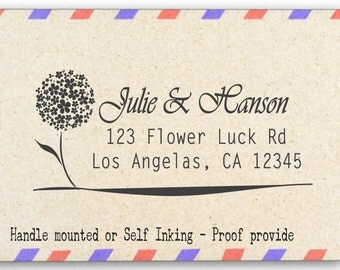 Personalized Return Address Stamp - Custom Rubber Stamp - Lucky Flower - AW52
