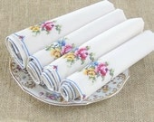 Vintage Cream Cotton  Embroidered Rosebud Cotton Dinner Napkins, Set of 4, Tea Party, Wedding Linens, Placemats