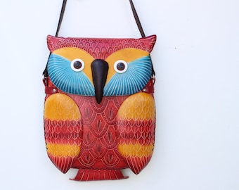 handmade Leather owl purse / ipad case