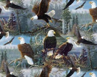 Per Yard, Four Seasons Masters of the Skies Eagle Fabric From David Textiles