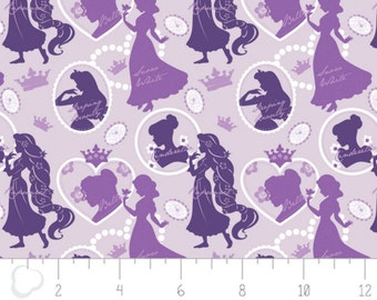 Per Yard, Disney Princess Silhouette in Purple Fabric From Camelot