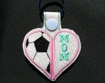 Soccer - Soccer Mom - In The Hoop - Snap/Rivet Key Fob - DIGITAL Embroidery Design