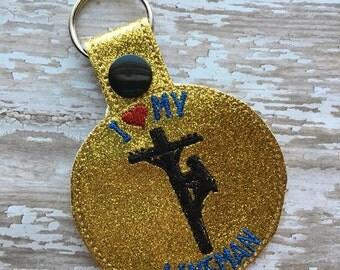 Lineman - I Love My Lineman - Snap/Rivet Key Fob - DIGITAL Embroidery Design