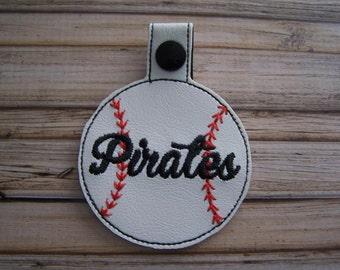 Pirates - Baseball - In The Hoop - Snap/Rivet Key Fob - DIGITAL Embroidery Design