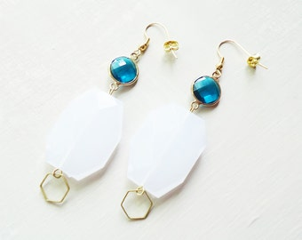 SALE-White and Teal Pendant Earrings