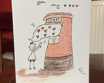 Sending all my love, blank greeting card. 7x5 blank greeting card. Ideal for any occasion. Free postage