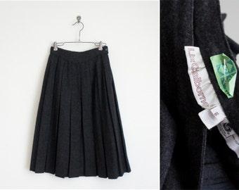 70s charcoal wool box-pleat skirt / 1970s high waist skirt / Liz Claiborne