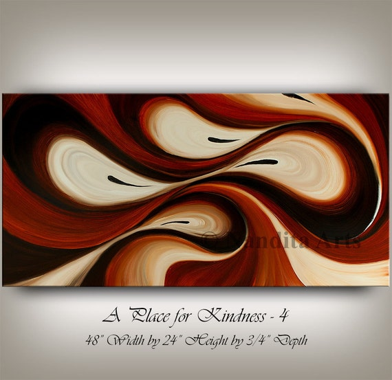 Large Wall Art ABSTRACT PAINTING Acrylic Wall Decor Brown Landscape
